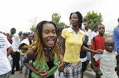 Dancing ritual in a Haitian funeral procession.