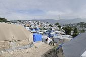 Residents of a tent city in Haiti.