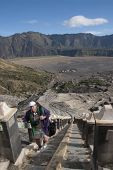 Tourist Climbing Mount Bromo Stairs