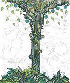 Fundo com árvore decorativa