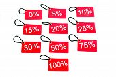 Different Red Tags With The Percentage Level
