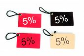 Four Types Of Five Percent Paper Tag Isolated On White Background