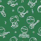 Seamless doodle background with happy children band with musical instruments on school blackboard