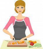 Illustration of a Woman Slicing Vegetables