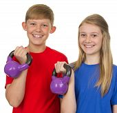 Two Children Lifting Weights