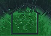 Green Glass Recycle Symbol On A Shiny Surface