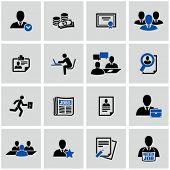 Human resource and recruitment icons set.