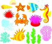 stock photo of blubber  - Set of cartoony sea animals - JPG