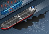 Isometric Ship Tanker Leaky Oil In Front View