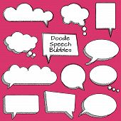 Vector Collection of Cute Doodle Speech or Thought Bubbles