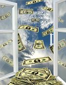 Window To The Heaven And Dollars Flying Away