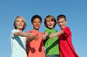 Group Of Diverse Kids Thumbs Up
