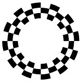 Checkerboard Frame, Spiral Design Pattern, Black And White
