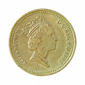Isolated British Pound Coin On White