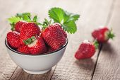 stock photo of dessert plate  - strawberry in plate close up - JPG