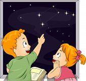 Ilustração de masculino e feminino Kid irmãos estudando constelações