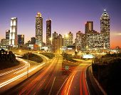 City skyline at dusk, Atlanta, USA.
