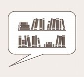Vector illustration, talking or thinking about knowledge, library, learning - books on the shelves