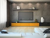 Modernes Interieur mit Orange Box und Tv
