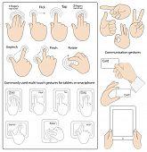 Conjunto de vetores de gestos comumente usados