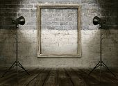 vintage studio room, background with retro photo frame