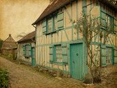 Gerberoy.  Old house in medieval village. Gerberoy is a commune in the Oise department in northern F