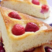 closeup of some pieces of coca amb cireres, typical catalan cake with cherries for Feast of Corpus C