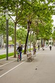 People Riding Bikes And Walking In The Morning To The Work In Diagonal Avenue, In Barcelona, Spain