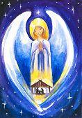 stock photo of holy family  - Angel protect a Holy Family - JPG