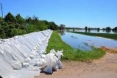 an Damm of sandbags to protect against flooding