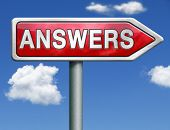 find answers indicating way to solve problems answer button answer icon search answer and discover truth red road sign arrow with text and word concept