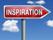 inspiration get inspired be creative create and invent brainstorm and inspire red road sign arrow with text and word