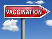 flu vaccination needle immunization shot red road sign arrow with text and word concept