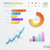 Infographics design elements template. Multicolor Graph, chart, diagram design solutions. Vector. Ed