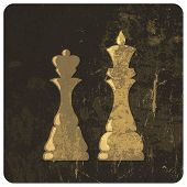 Grunge illustration of king and queen chess figures. Raster version, vector file available in my por