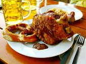 Grilled Pork With Sweet Mustard, Pretzels And Beer