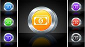 Money Icon on 3D Button with Metallic Rim Original Illustration