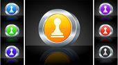 Chess Pawn Icon on 3D Button with Metallic Rim Original Illustration