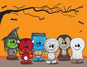 Cute Halloween-Karte - Hexe, Teufel, Monster, Mumie, Dracula und Ghost