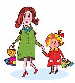 Mother and child shopping funny cartoon