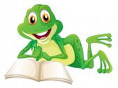 stock photo of short-story  - Illustration of a frog lying while reading a book on a white background - JPG