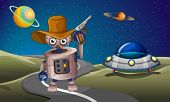 picture of long winding road  - Illustration of a robot at the road with a spaceship in the outerspace - JPG