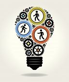 Gears and people icons form the shape of light bulbs. concept of effective teamwork. The file is sav