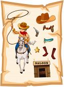 Illustration of a paper with a drawing of a cowboy and a saloon bar on a white background