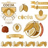 stock photo of bean-pod  - Cocoa beans icons and emblems - JPG