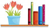 Illustration of a wooden shelf with a pot of flower and books on a white background