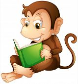 pic of playtime  - Illustration of a monkey sitting while reading a book on a white background - JPG