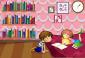 Illustration of a girl and a boy reading inside a room