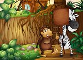 Illustration of a monkey and a zebra holding an empty wooden signboard in the forest
