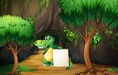 Illustration of a crocodile holding an empty paper outside the cave